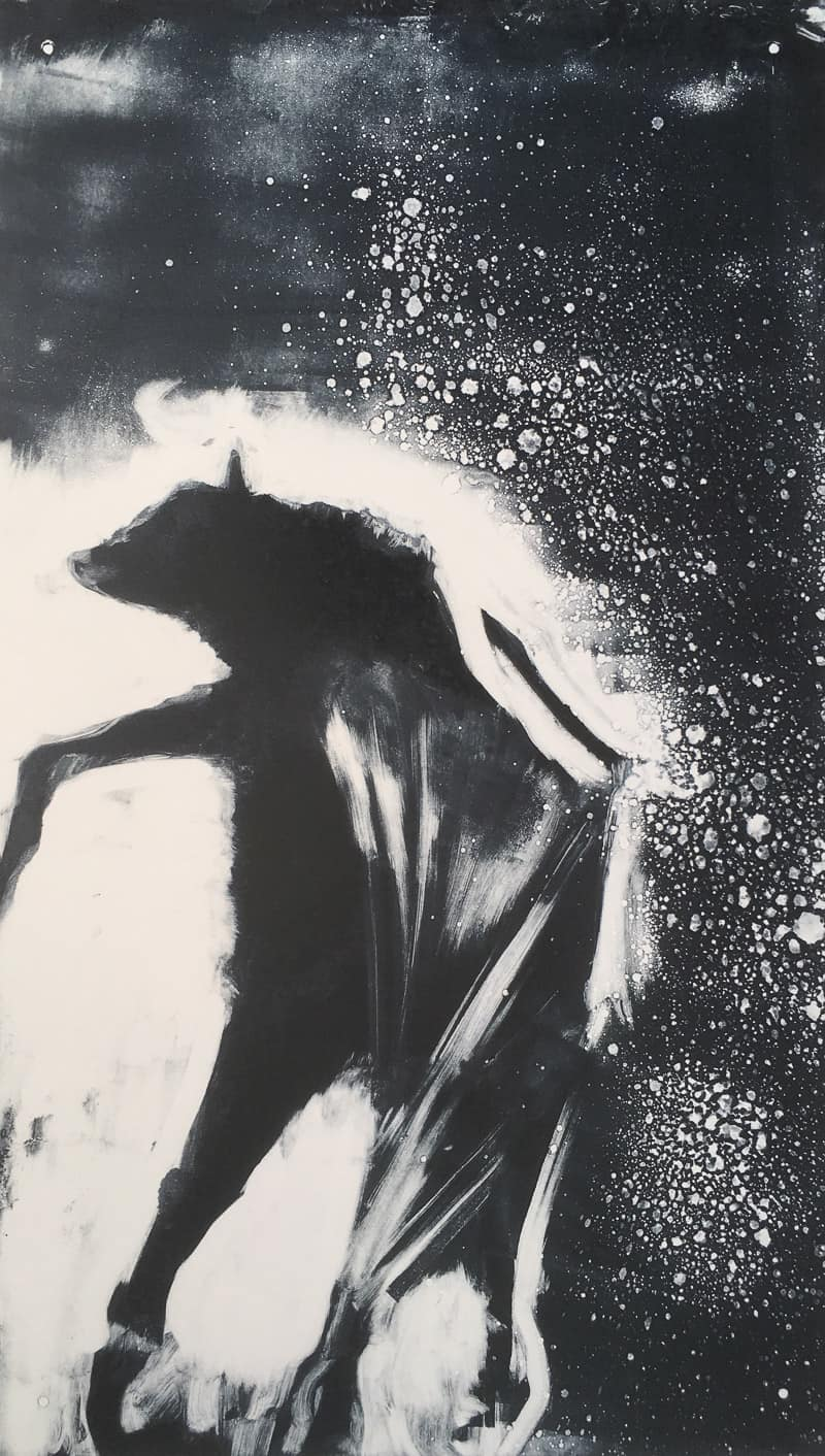 bat out of hell monoprint by Sheena Vallely