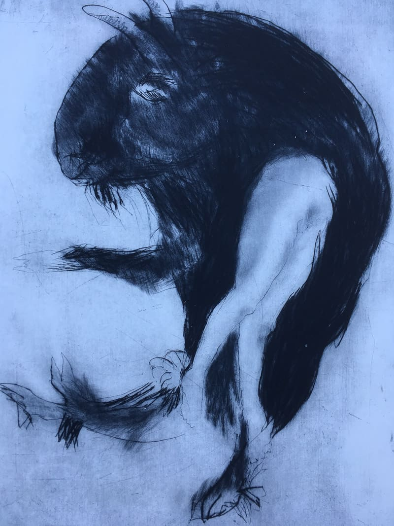 bluebeard drypoint by Sheena Vallely