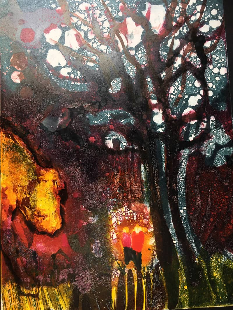 under the fairy tree monoprint Sheena Vallely